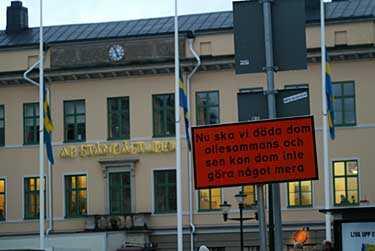 En av de skyltar som suttit uppe i Linköping.