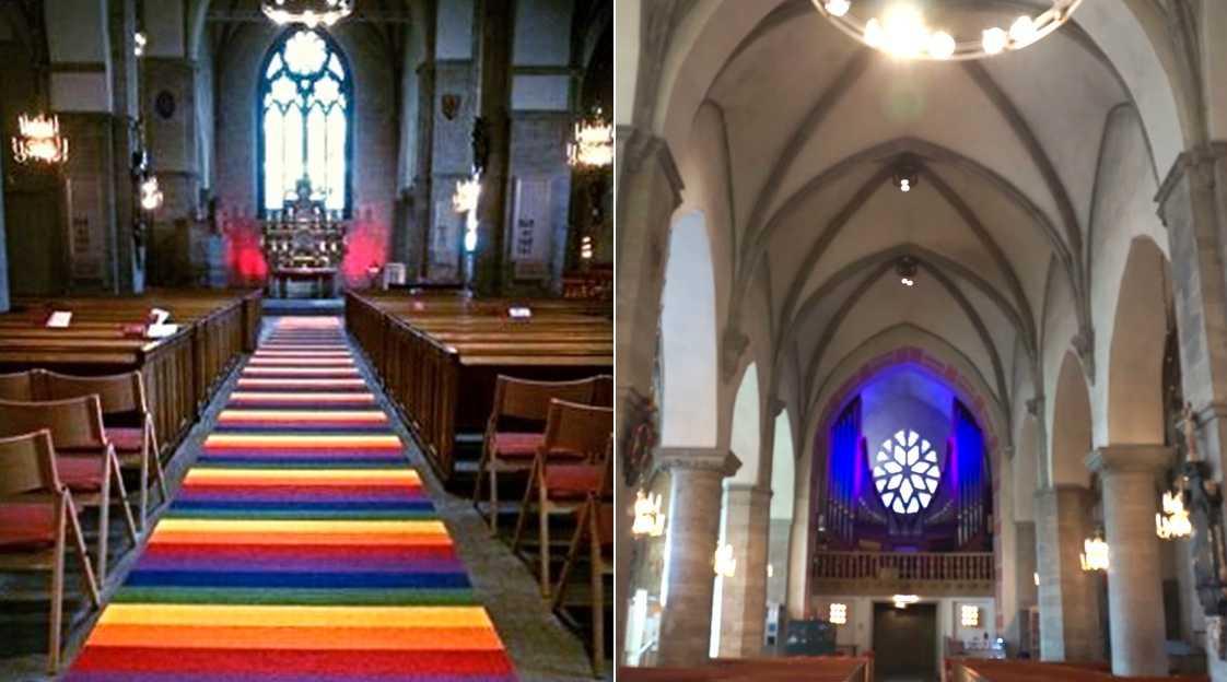 Regnbågsmattan i S:t Nicolai kyrka i Örebro. Foto: Anders Lennartsson / Youtube.
