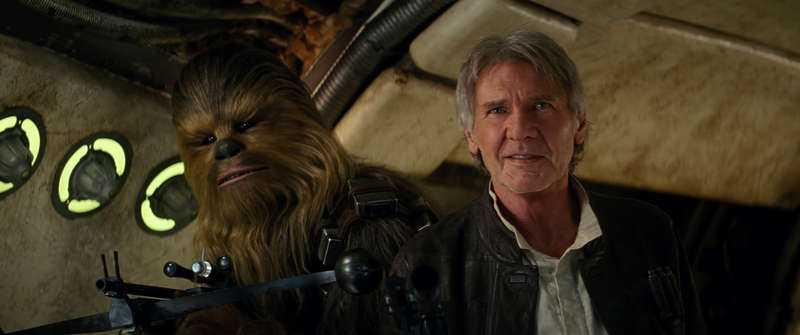Peter Mayhew och Harrison Ford är tillbaka i sina klassiska roller som Chewbacca och Han Solo.