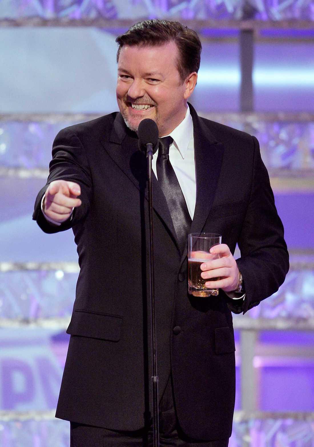 Ricky Gervais på Golden Globe 2009. Komikern leder galan även denna gång.