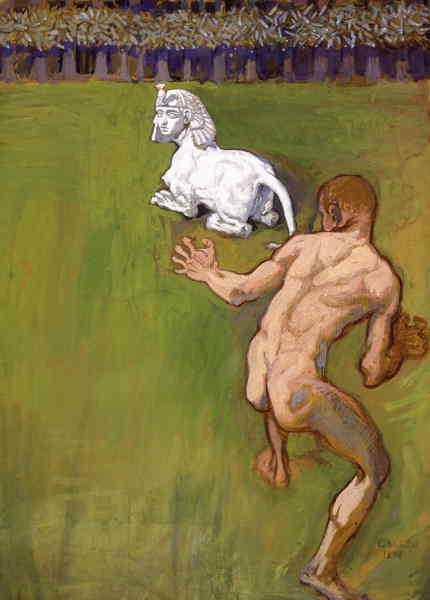 """En del av verket """"Conceptio artis"""" av Gallen-Kallela som målade Kalevalas """"hjältar""""."""