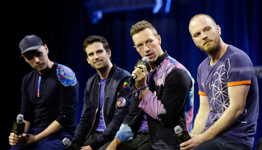Jonny Buckland, Guy Berryman, Chris Martin och Will Champion i Coldplay.