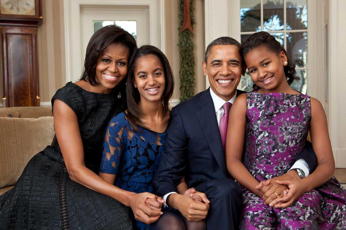 Med familjen, i Ovala rummet i december 2011.