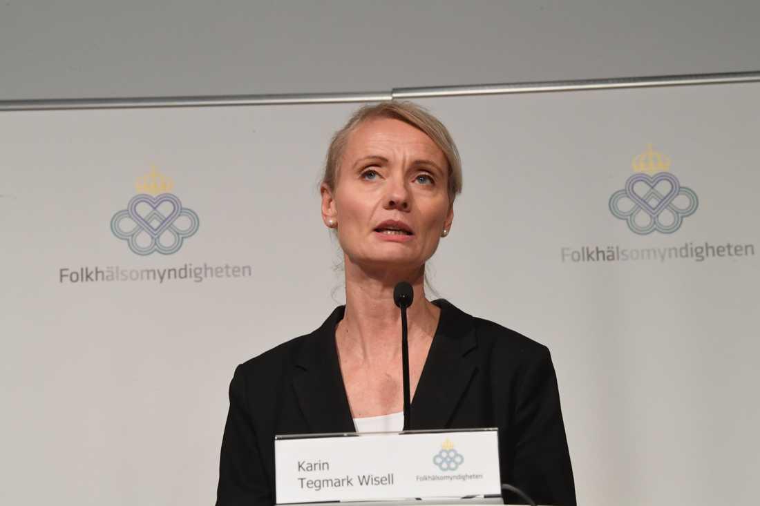 Folkhälsomyndighetens coronastrategi i våras får kritik från flera regioner. Avdelningschefen Karin Tegmark Wisell håller dock inte med om kritiken. Arkivbild.