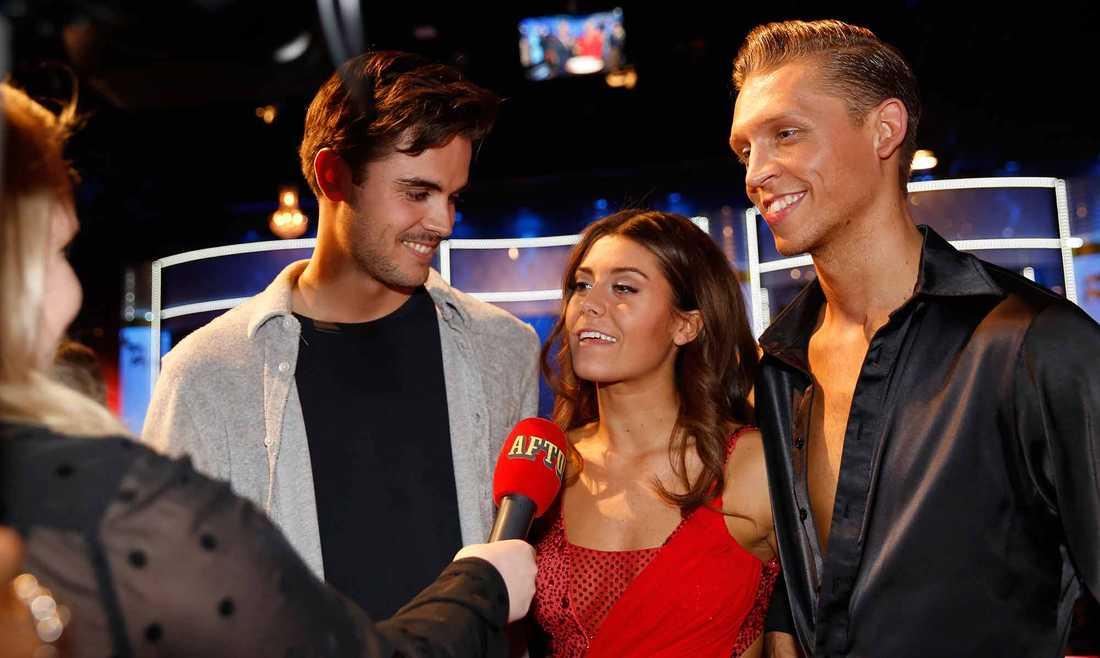 Bianca Ingrosso med pojkvännen Phillipe Cohen (till vänster) och danspartnern Alexander Svanberg.