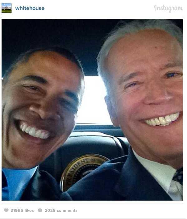 Selfies vi minns USA:s vice president Joe Biden öppna ett instagram-konto och slog till med ett succé direkt. Hans selfie med Obama är från presidentens bil.