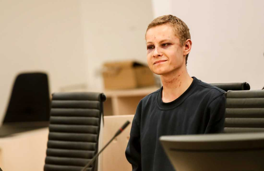 Philip Manshaus i Oslo tingsrätt under häktningsförhandlingen efter moskéattacken. Arkivbild.