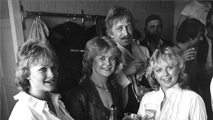 Mats Rådberg med (fr v) Ingela Hansson, Elisabeth Andreassen och Kikki Danielsson 1982.