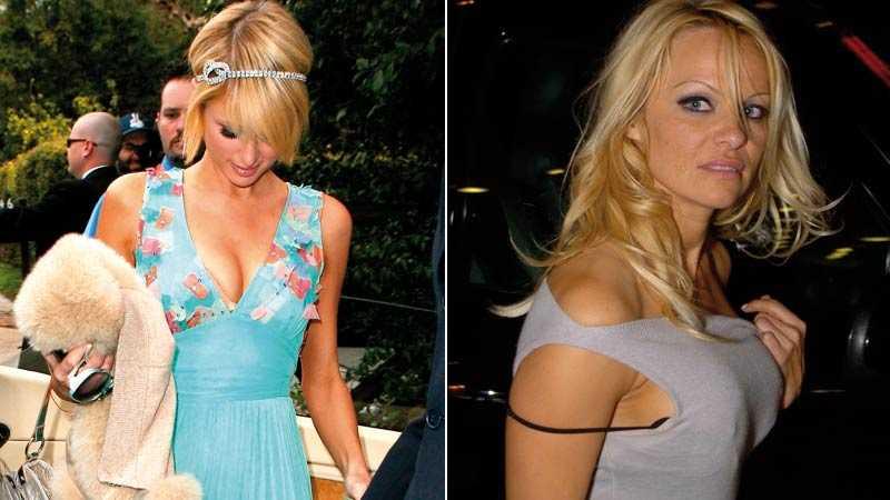 Lite snett och vint Även kändisar kan ha problem att få allt på rätt plats – här Paris Hilton och Pamela Anderson.