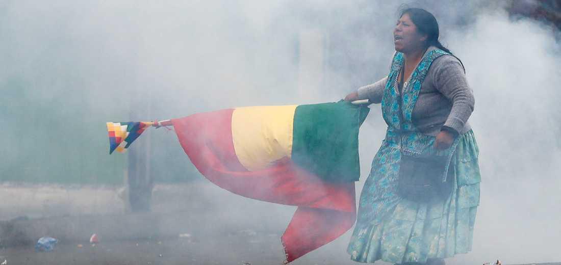 En kvinna demonstrerar till stöd för Evo Morales, som flydde till Mexiko den 10 november.