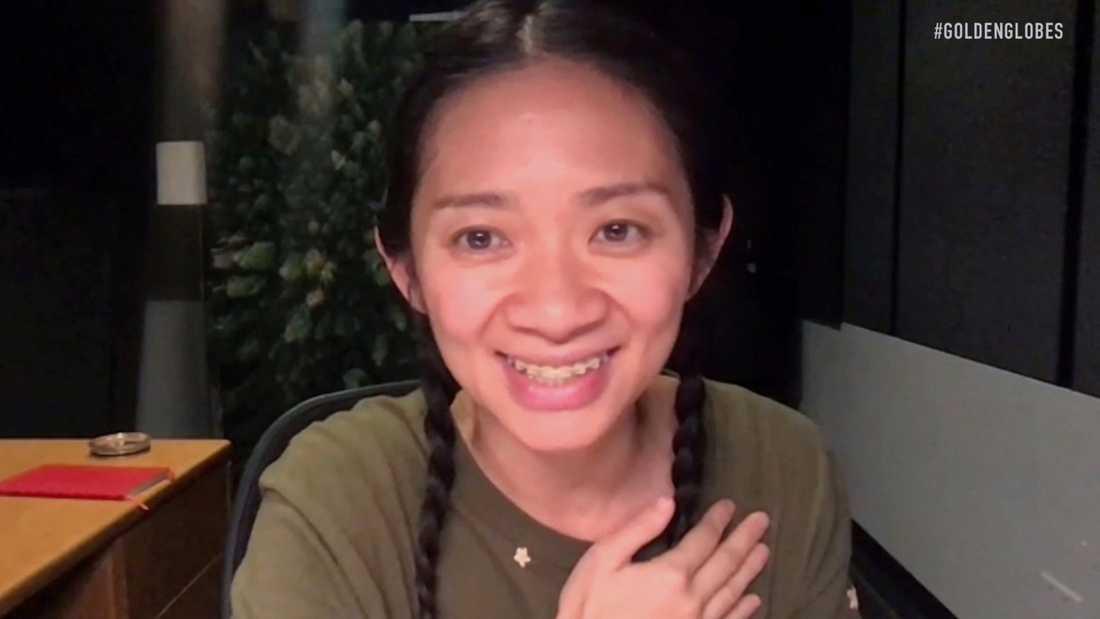 Regissören Chloé Zhao tog emot priset för bästa regi på Directors Guild Awards i USA på lördagskvällen. Pressbild.