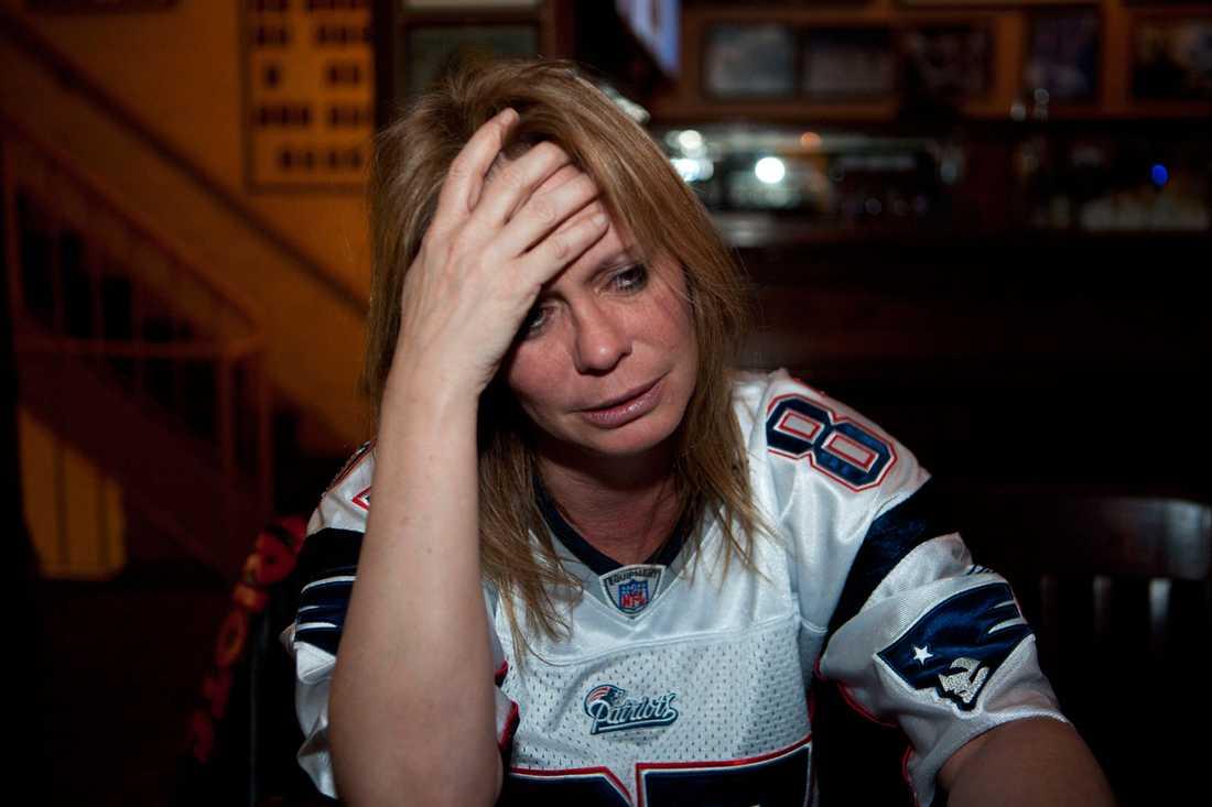 Patriots-fan gråter efter förlusten.
