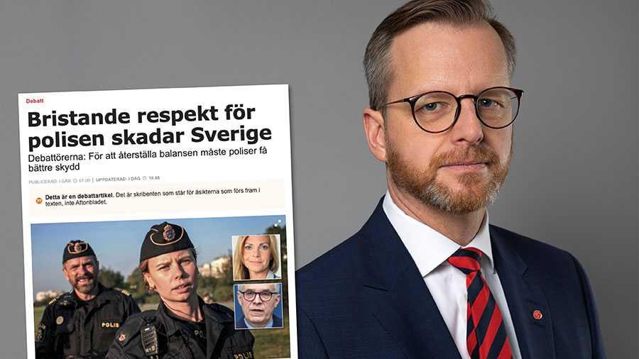 """Scener ur SVT:s """"Tunna blå linjen"""" känns igen från möten med polisanställda runt om i Sverige. Vi som är satta att leda demokratiska institutioner och brottsbekämpande myndigheter ska markera kraftigt när dess företrädare utsätts för hot, våld och trakasserier, skriver Mikael Damberg."""