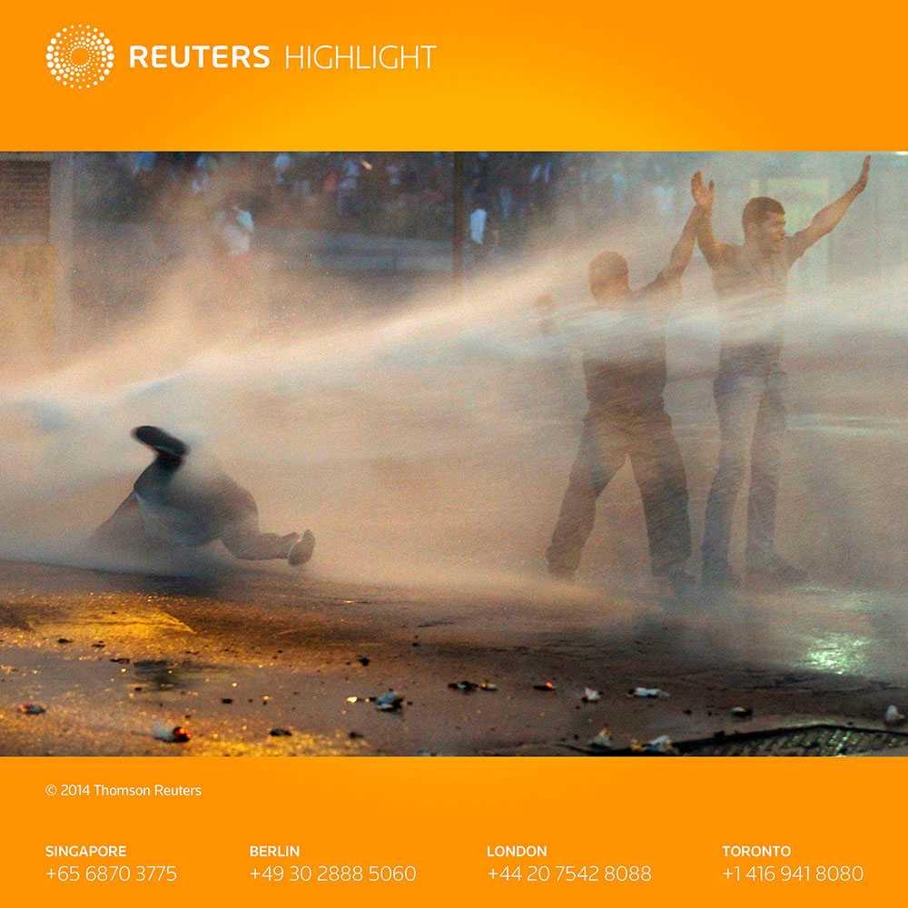 Lopezanhängare Demonstranter möttes av vattenkanoner på torsdagen.