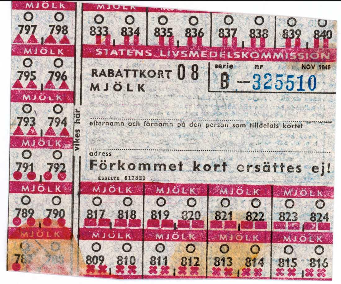 Ransoneringskort under andra världskriget.