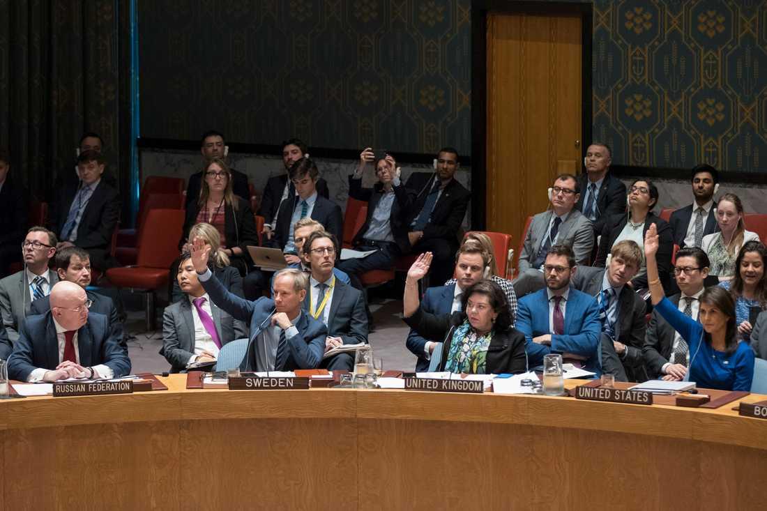 Ryske FN-ambassadören Vassily Nebenzia iaktar Sveriges FN-ambassadör Olof Skoog, Storbritaniens  Karen Pierce och USA:s Nikki Haley under omröstningen i FN:s säkerhetsråd under lördagen.