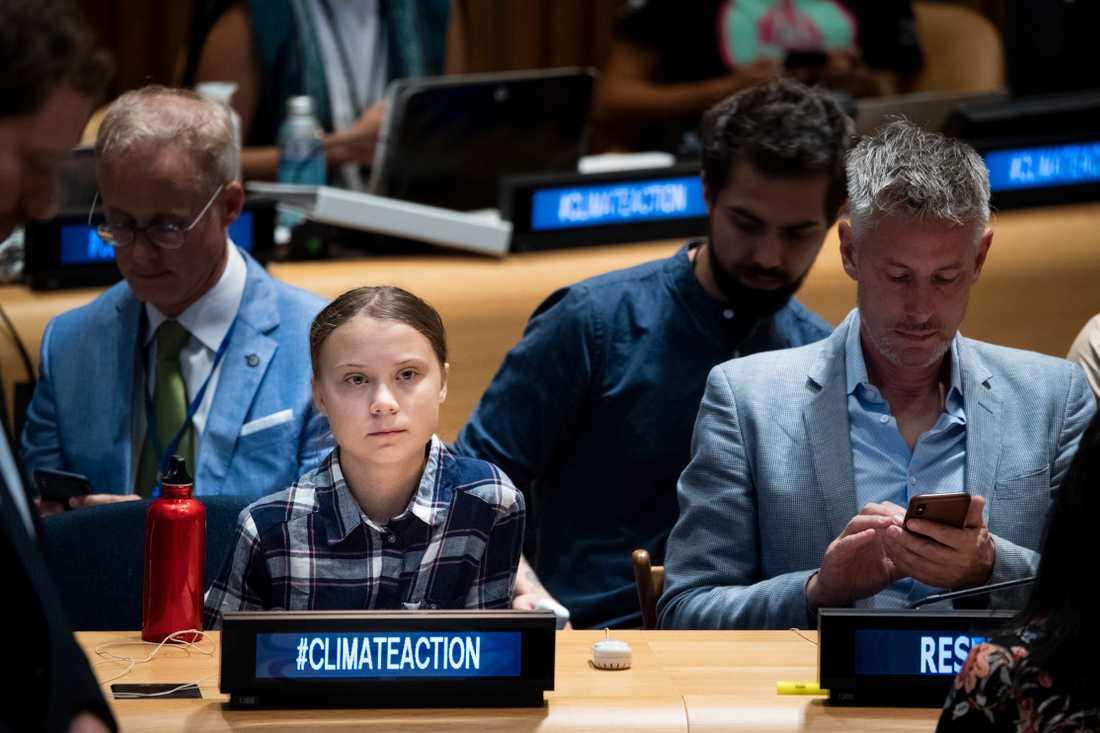 Greta Thunberg på FN:s klimat-toppmöte i New York.