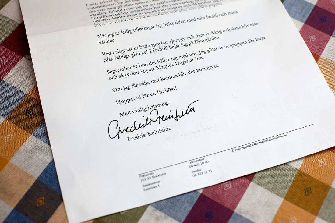 Statsministerns brev – och signatur.