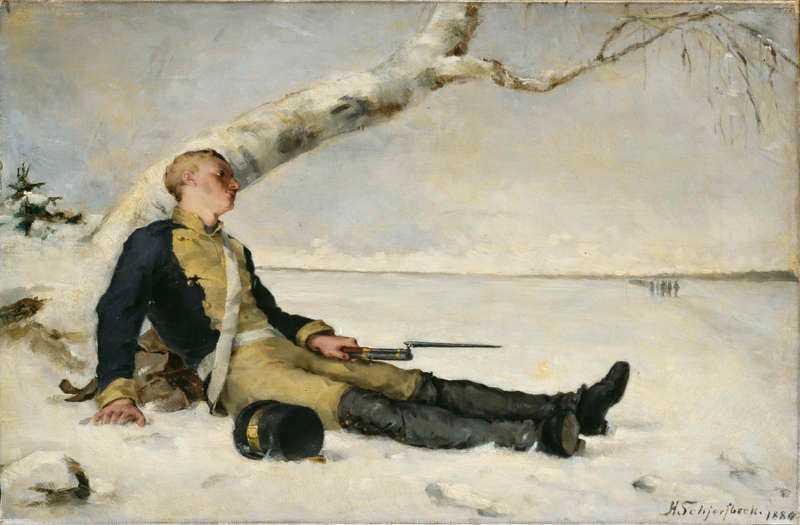 """""""Sårad krigare utsträckt på snön"""", 1880, olja på duk."""