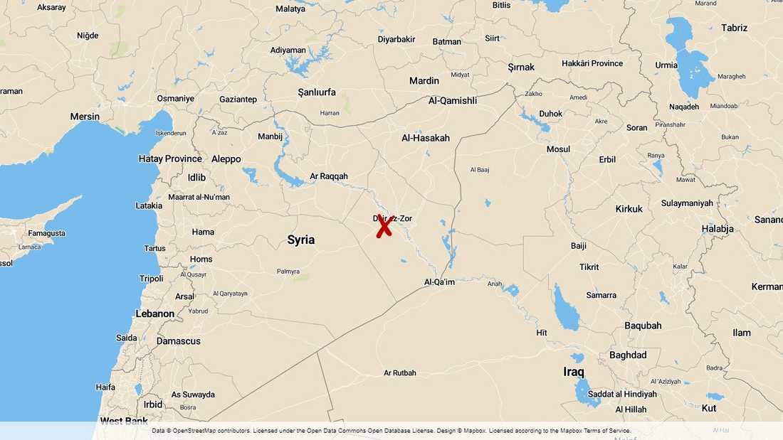 Dayr al-Zawr (Deir Ezzor) ligger i östra Syrien.