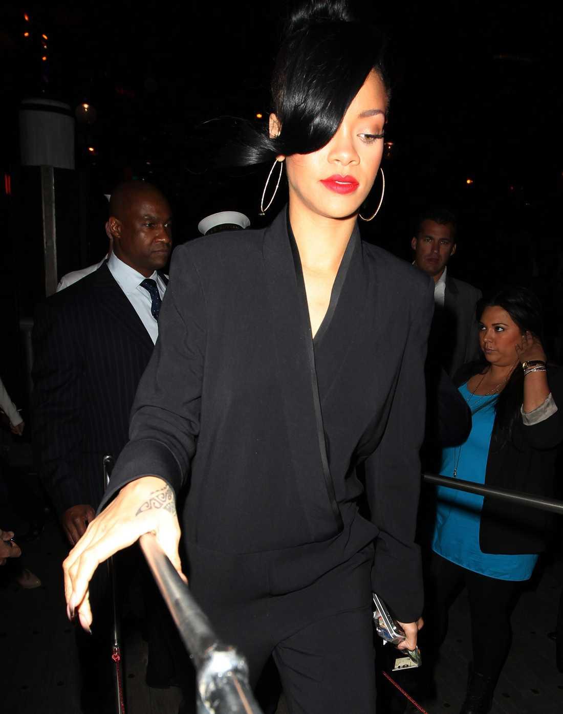 Och där fanns också en av filmens stora stjärnor, Rihanna. Foto: All Over Press