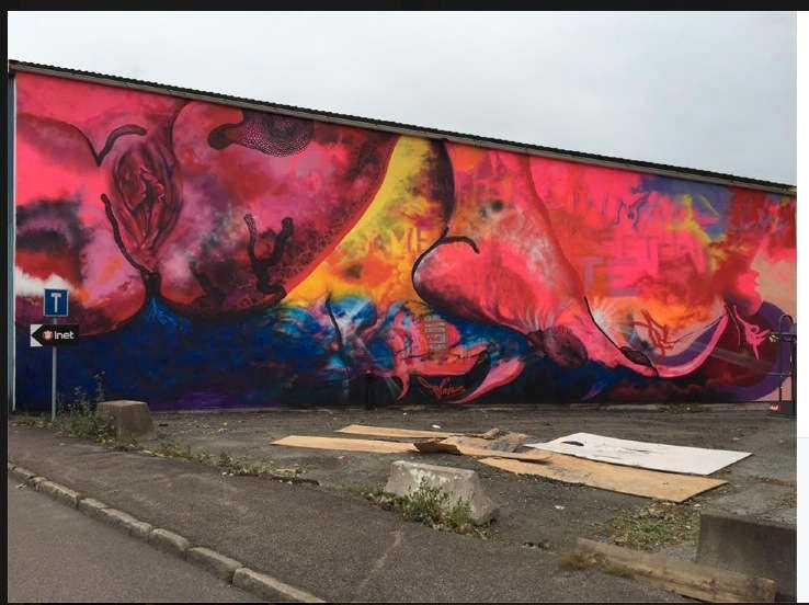 Den vandaliserade graffitimålningen i Göteborg.