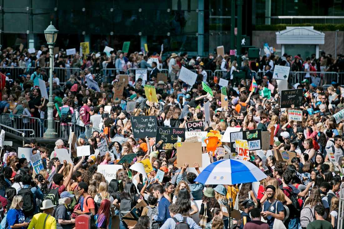 Skolungdomar på Foley square i New York inför fredagens klimatdemonstration, som arrangerades av Fridays for future.