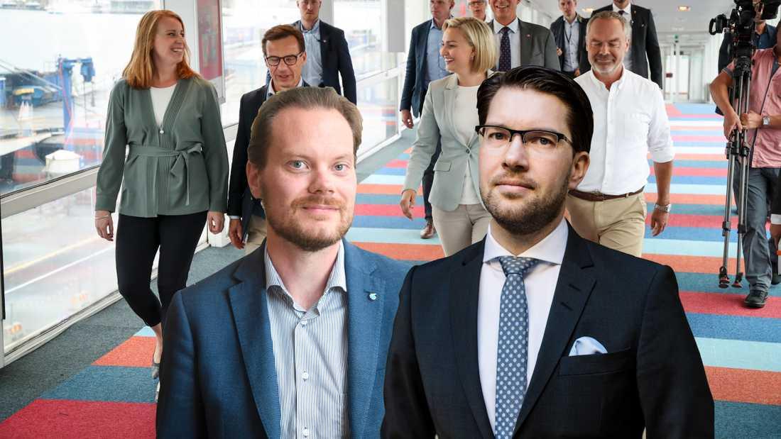 """Sverigedemokraterna kan tänka sig samarbeta med en borglig regering, om priset på bensinen sänks. """"Detta kommer vid sidan av migrationspolitiken vara ett av de viktigaste kraven när Sverigedemokraterna efter valet inleder förhandlingar med den borgerliga alliansen,"""" skriver Jimmie Åkesson och Martin Kinnunen."""