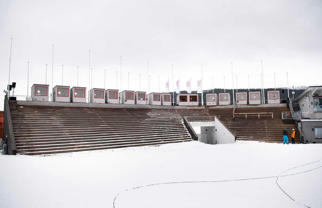 Ett så gott som tomt målområde i Åre. Här skulle de avslutande tävlingarna i damernas alpina världscup ha avgjorts torsdag-lördag.