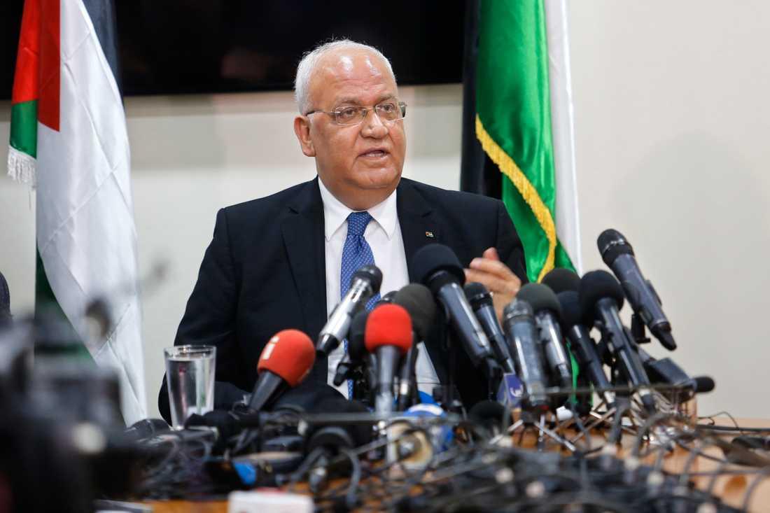 Saeb Erekat är chefsförhandlare för den palestinska paraplyorganisationen PLO. Arkivbild.