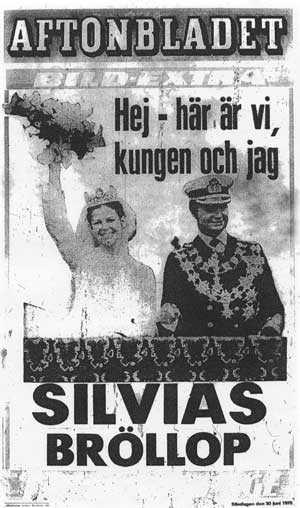 Löpsedeln när Carl XVI Gustaf gifte sig med Silvia.