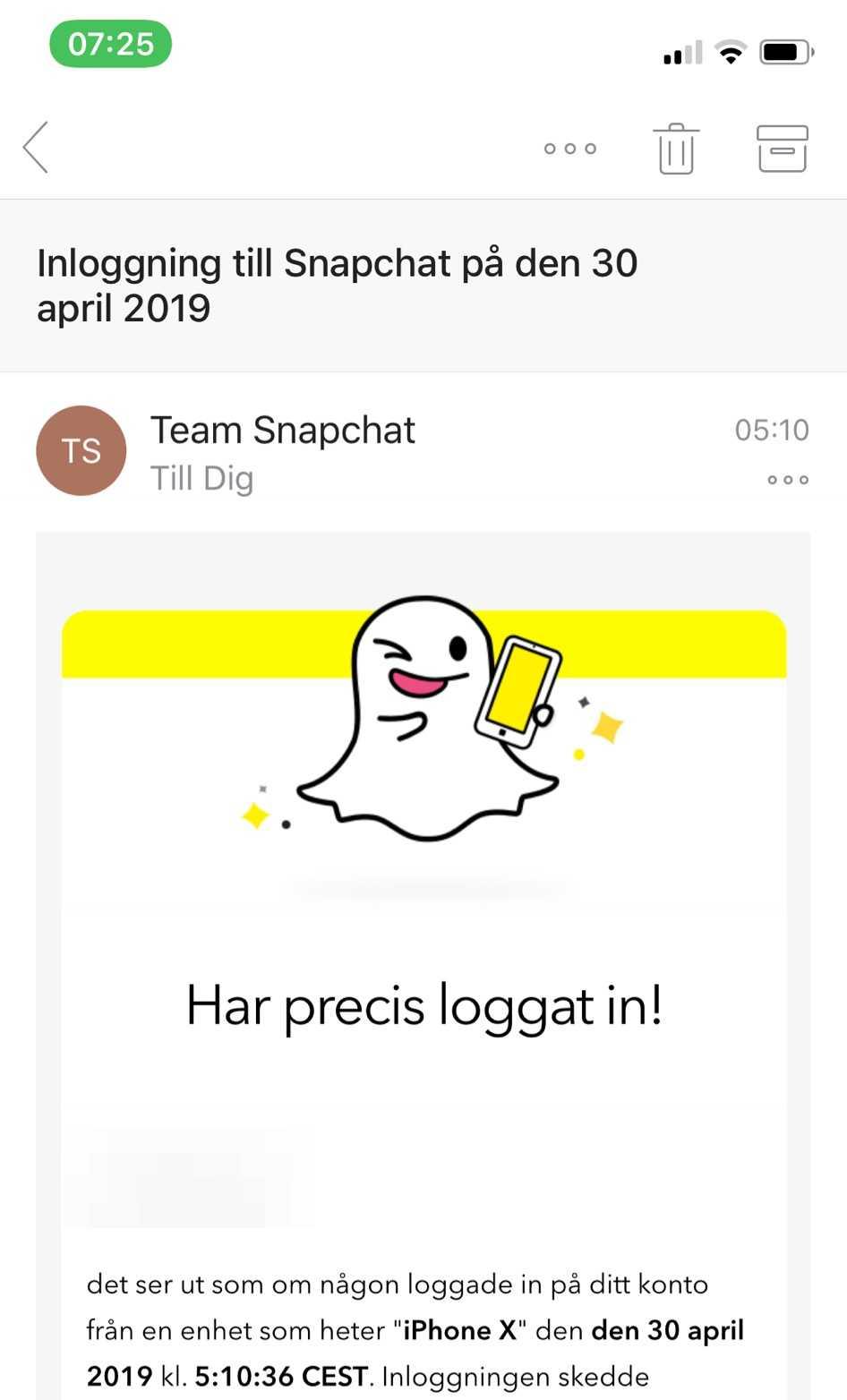 Snapchat skickade ett mejl för att varna Linnea.