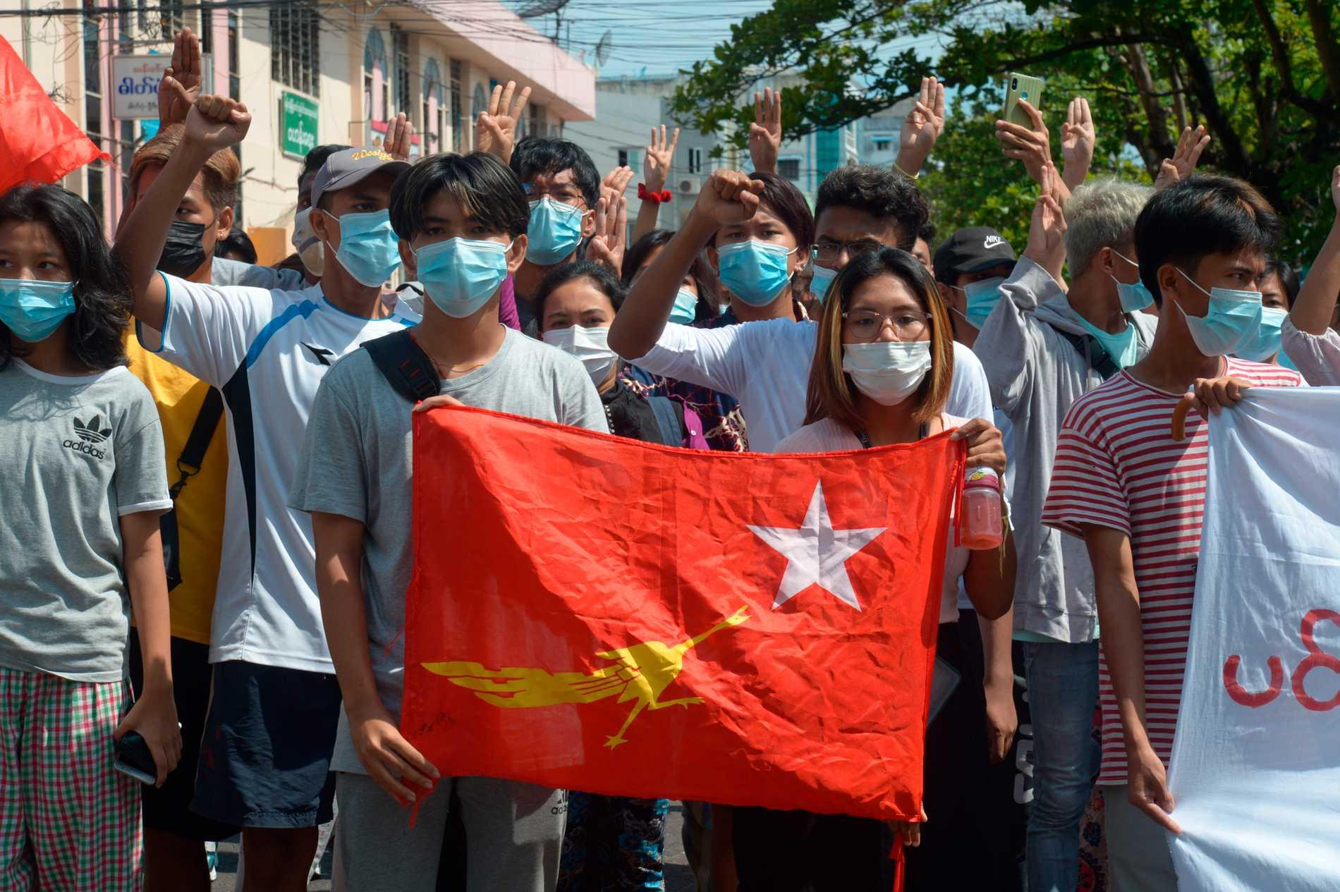Protester mot militärkuppen i Myanmar. Arkivbild.