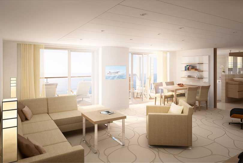 Den största sviten, kallas Owner suite. Hapag-Lloyd Cruises