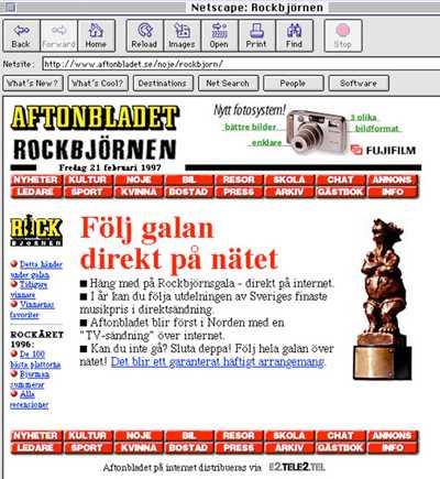 Första direktsända tv-sändningen över nätet, 1997.