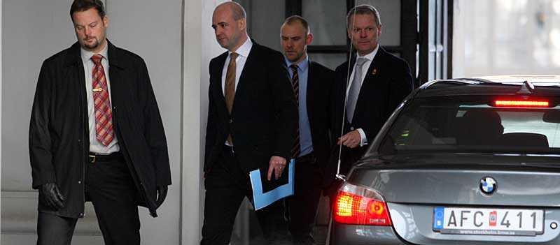 Fredrik Reinfeldt anlände till slottet vid lunchtid.