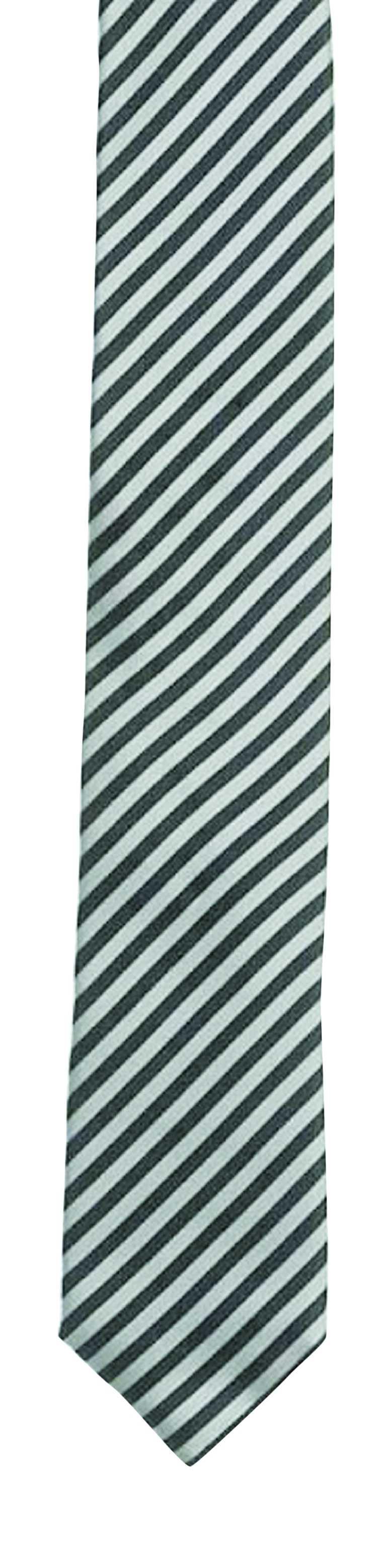 En enkel och snygg slips med grå och svarta ränder sätter stil på tillvaron. Den här köper du till pojkvännen för 277 kronor på www.smartguy.se