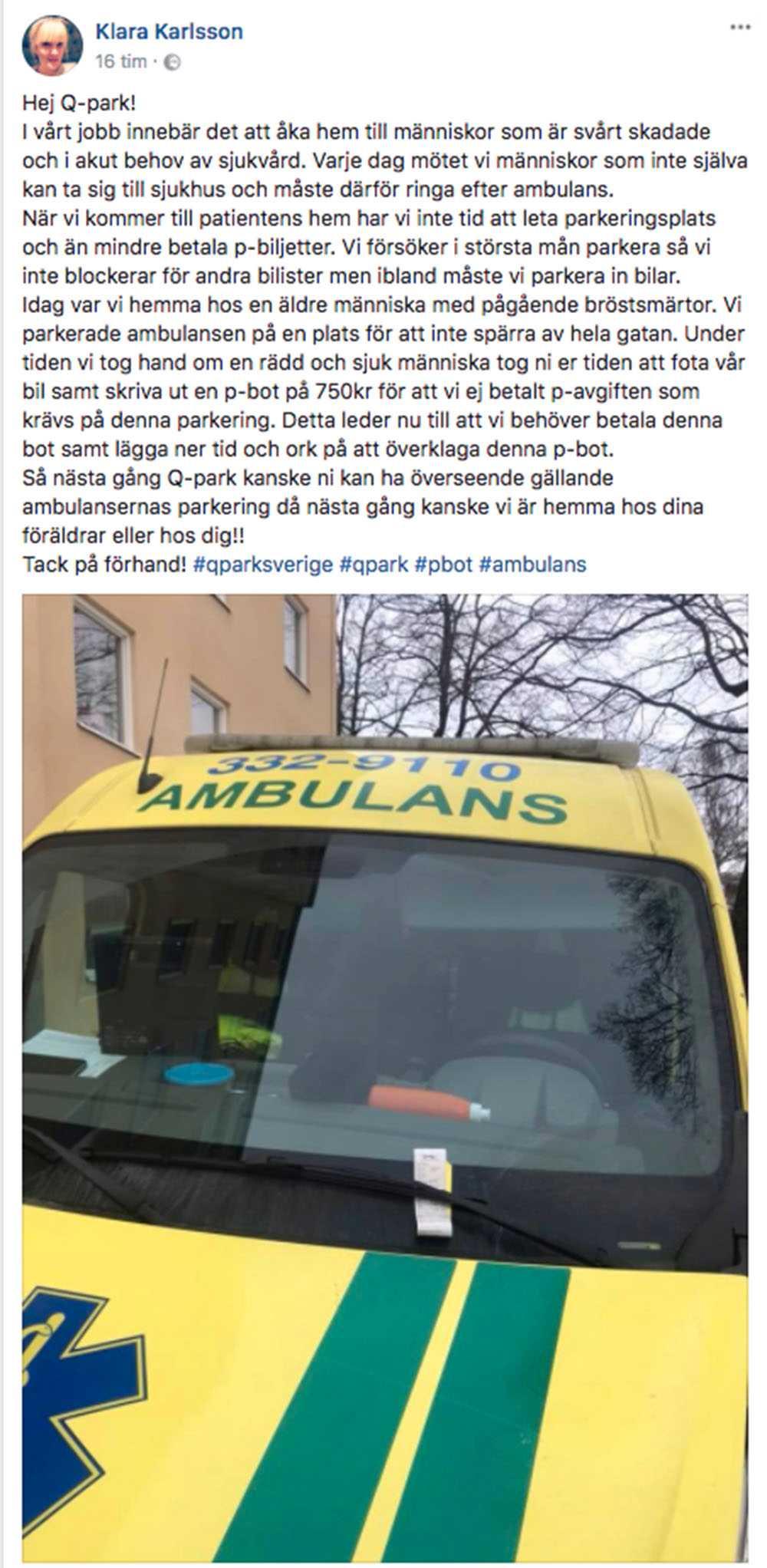 faksimil från Klaras Facebookinlägg.