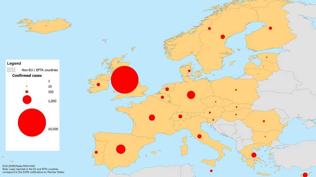 Land för land – så många har smittats. Klicka på bilden för att göra den större.