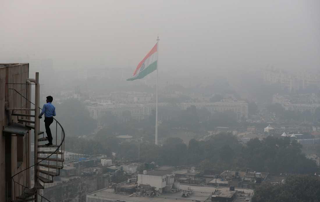 Indiens huvudstad Delhi insvept i en tjock smogdimma. Bild från den 1 november.