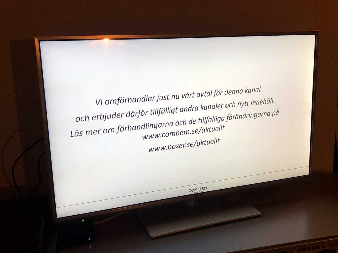 Meddelande som mötte den som ville titta på TV4.