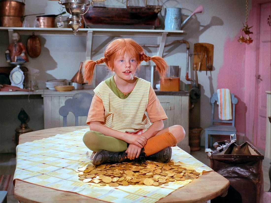 """Bild ur tv-serien """"Pippi Långstrump"""" från 1969 som visades i Sveriges Television."""