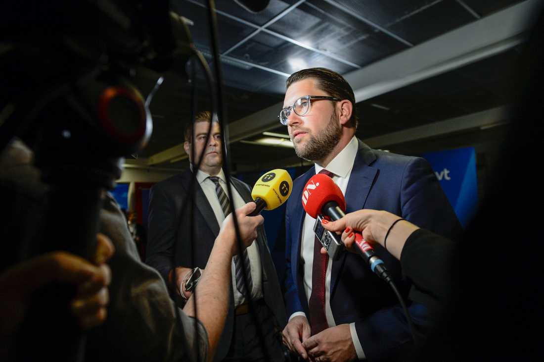 Sverigedemokraternas partiledare Jimmie Åkesson (SD) efter fredagens SVTs partiledardebatt.