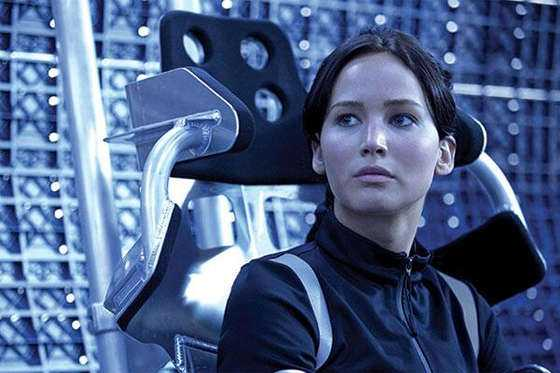 "Jennifer Lawrence som Katniss Everdeen i ""Hunger games""."