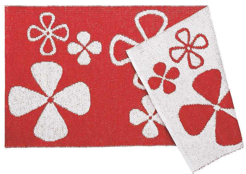 Liva upp köket med en rödblommig plastmatta från Ellos, 399 kr.