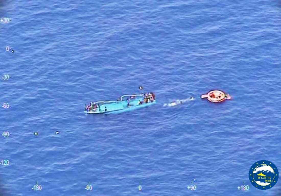 Bild från räddningsaktionen tidigare i veckan.