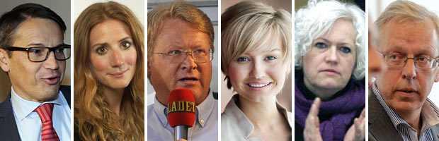De vill bli KD-ledare Göran Hägglund, Caroline Szyber, Lars Adaktusson, Ebba Busch, Acko Ankarberg Johansson och Mats Odell.