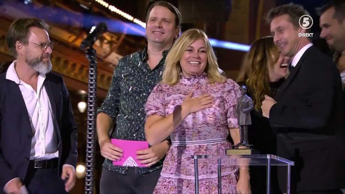 Pernilla Wahlgrens glädje på scen.
