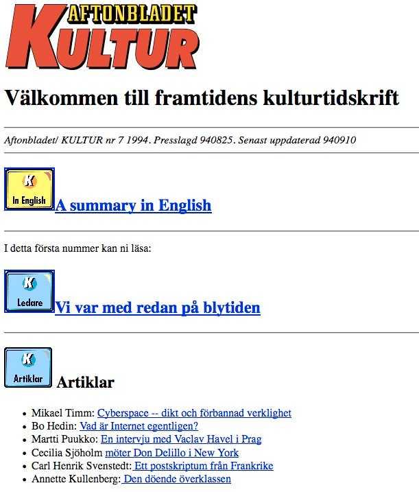 """Den allra första versionen av Aftonbladet.se. """"Framtidens kulturtidskrift."""""""