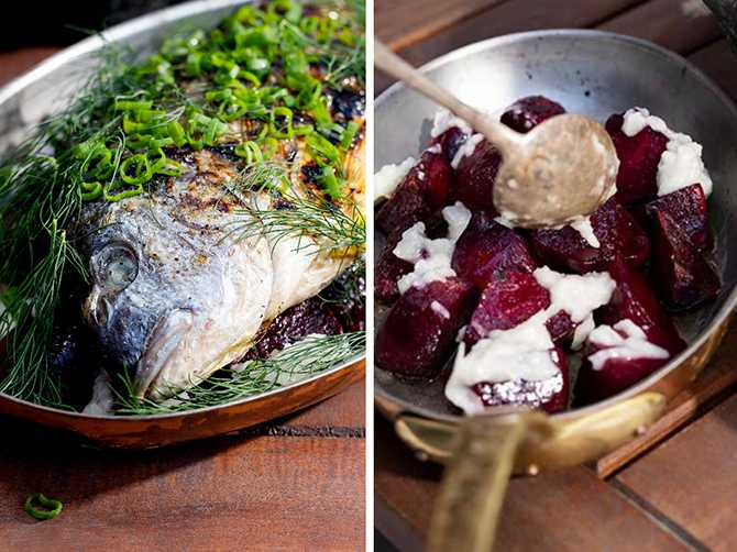 Grillad fisk - enklare än du tror. Servera med rödbetor och vitlökskräm.